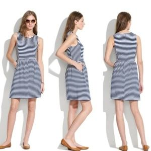 MADEWELL Afternoon Striped Dress Navy Blue {HH47}